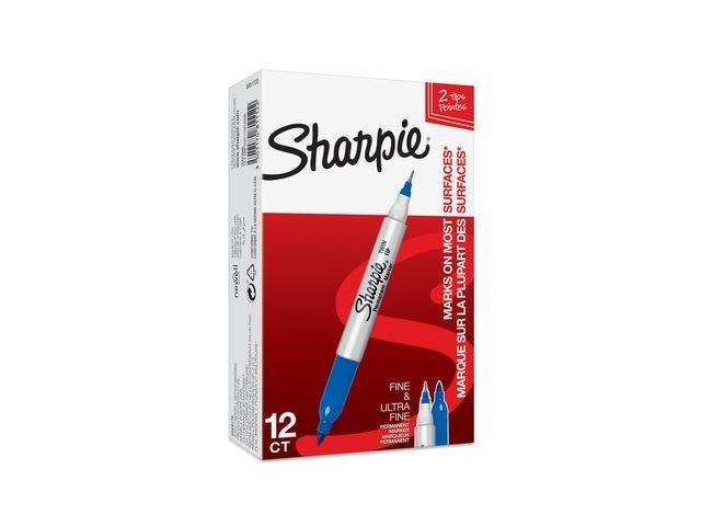 Sharpie Marker twintip Sharpie F en UF blauw/12