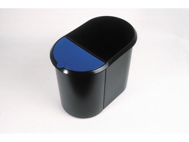 helit Afvalbak Helit Duo zwart/blauw