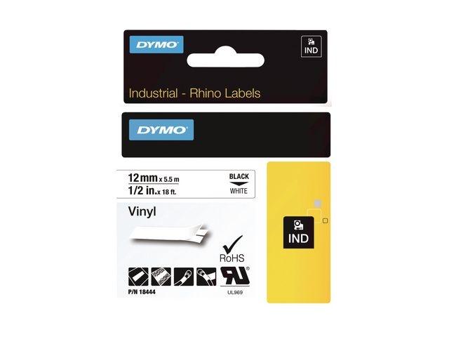 Dymo Tape Dymo Rhino vinyl 12mm zwart/wit