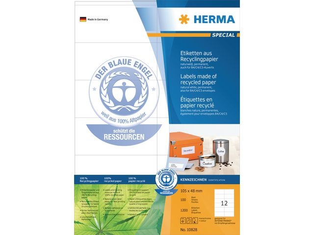 Herma Etiket ILC 105x48 recy wit/pak 1200