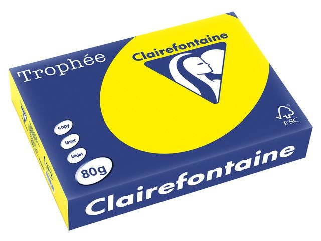 Clairefontaine Papier Trophée A4 80g zonnegeel/pk500v