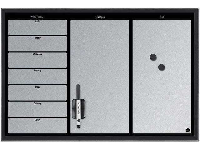 Bi-Office Whiteboard planner 60x40 3-vaks rand zw