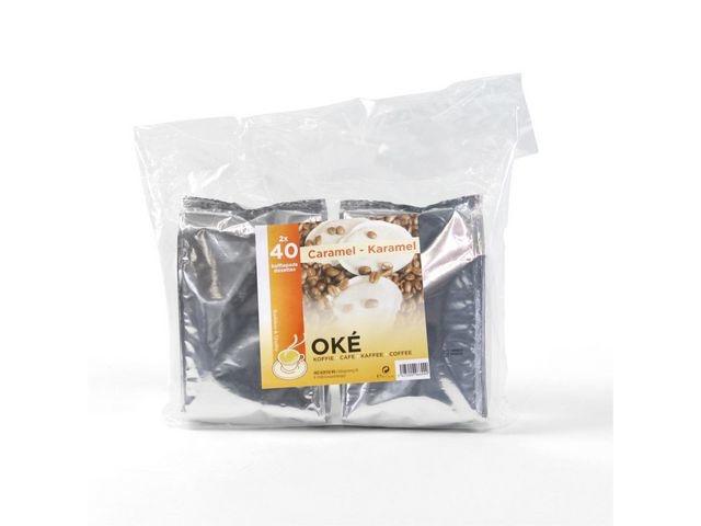 OKÉ KOFFIE CAFE KAFFEE COFFEE TRADITION & QUALITY Koffie Pads Oké Caramel /pk2x40st