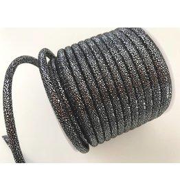 1m Lederlook Kordel Schwarz-Silber