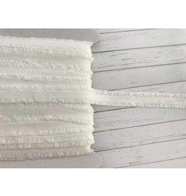 1m elastische Rüschenborte Ecru