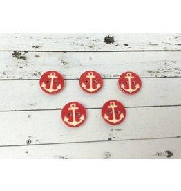 5x  Anker Knopf  Rot-Weiß