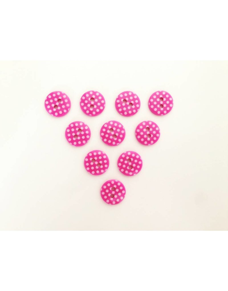 10x  2-Loch Knöpfe  Punkte 13mm Pink