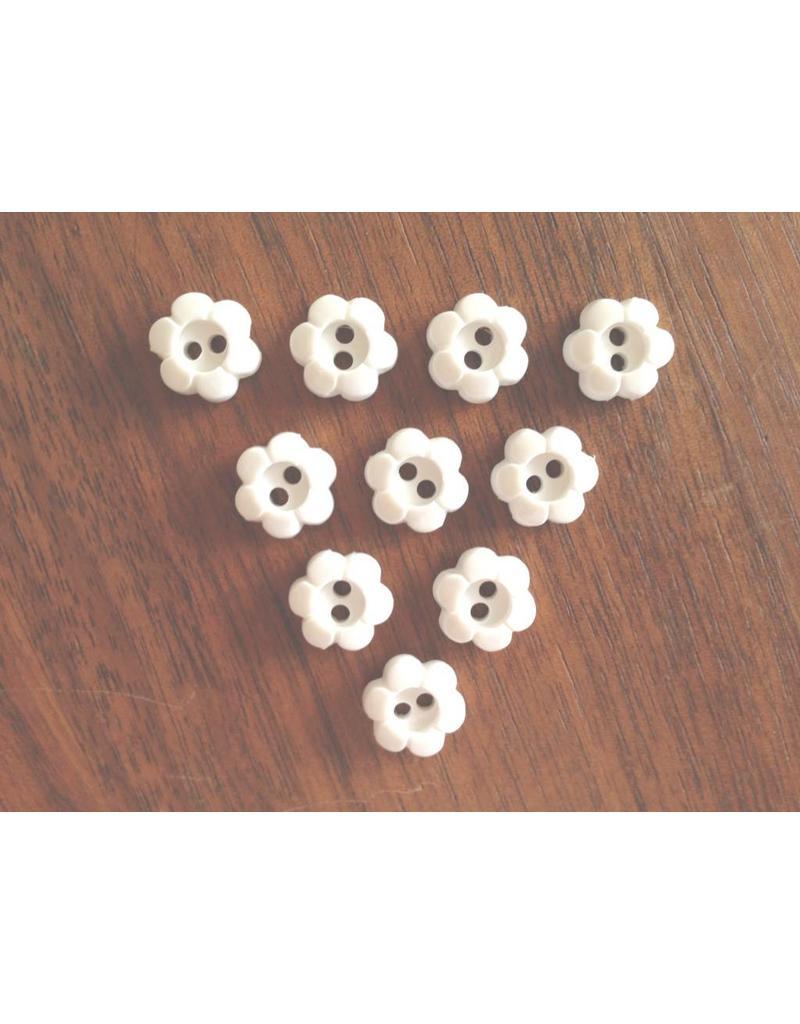 10x kleine 2-Loch Blumenknöpfe 11mm Weiß