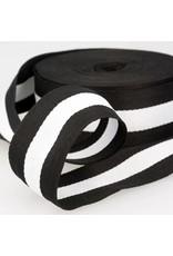 1m breites Retrostripe Webband Schwarz-Weiß