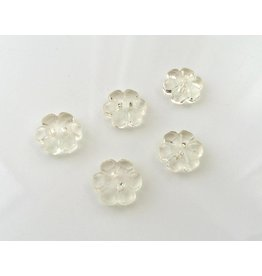 5x  Clear Flower Knöpfe 13mm Creme
