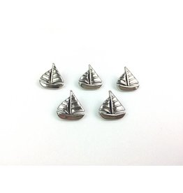 5x  Ösenknöpfe  Segelboot Silber
