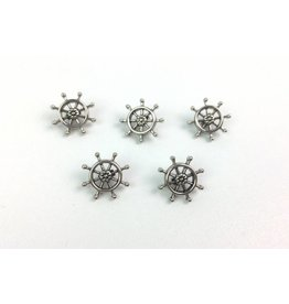 5x  Ösenknöpfe  Steuerrad Silber