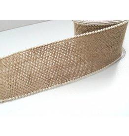 3m Juteband mit Ivory Perlenrand /Drahtkanten 60mm