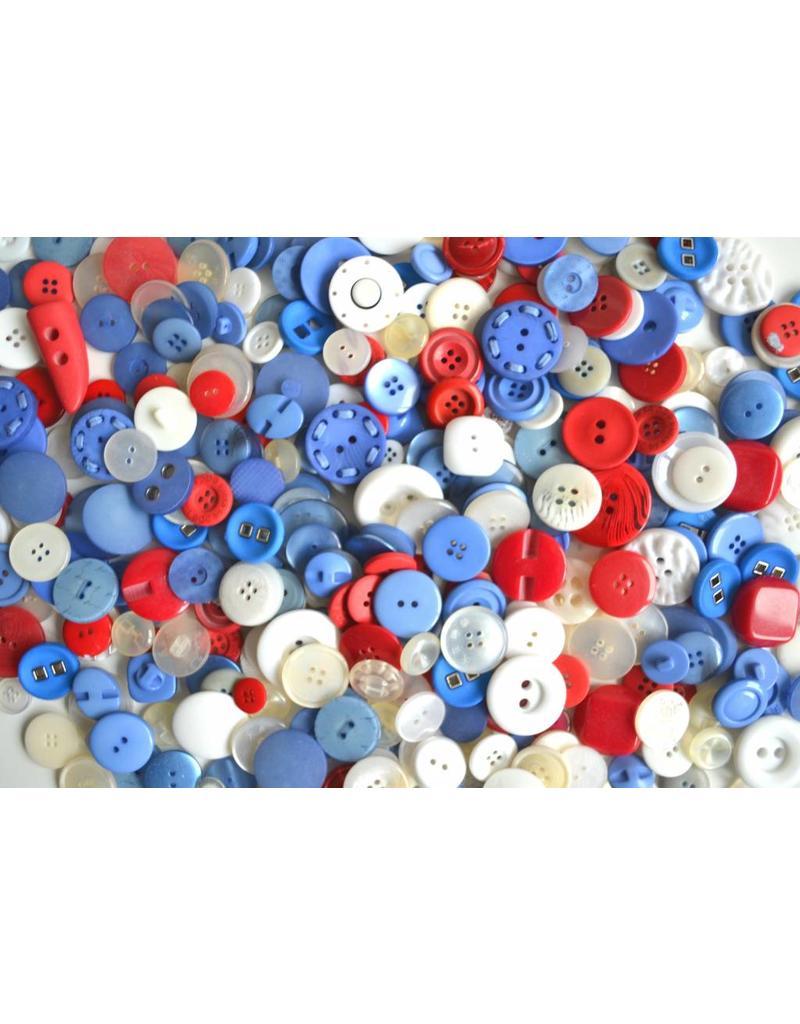 1 Kilo Knöpfe Blau Rot Weiß