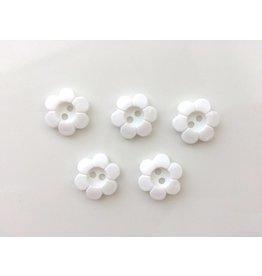 5x  2-Loch Blumenknöpfe 18mm Weiß