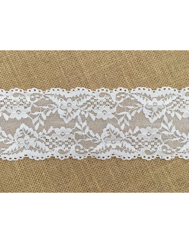 1m elastische Spitze  9cm Weiß