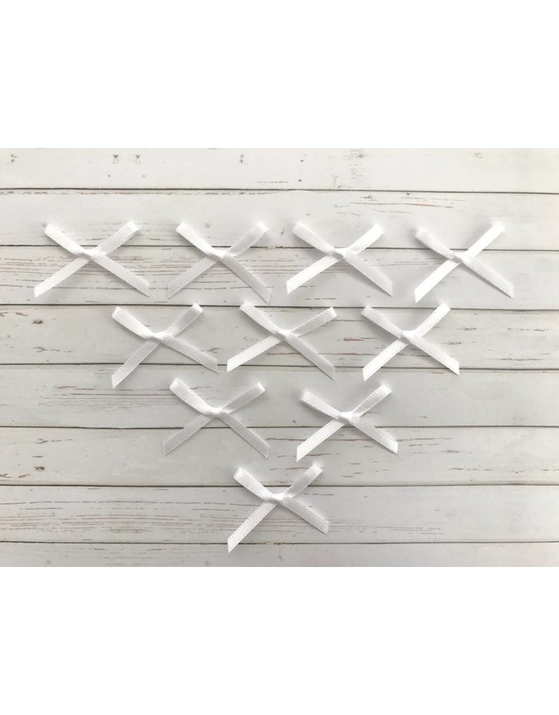 10x kleine Satin Schleifen Weiß