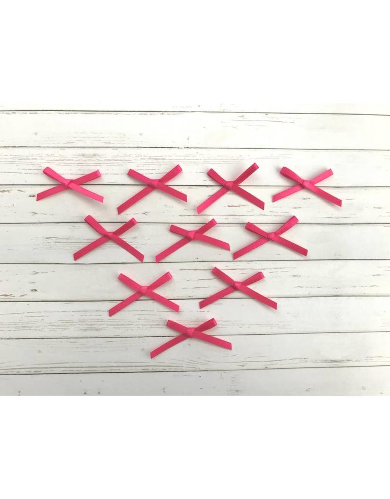 10x kleine Satin Schleifen Pink