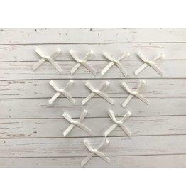10x kleine Satin Schleifen Ivory