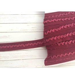 2m Falzgummi mit Rüschen Weinrot 16mm