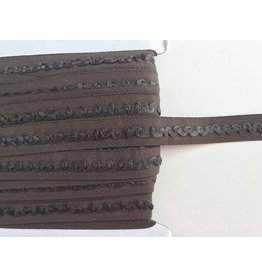 2m Falzgummi mit Rüschen Braun  16mm