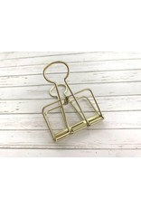 1x Jumbo Wire Clip Gold 51mm