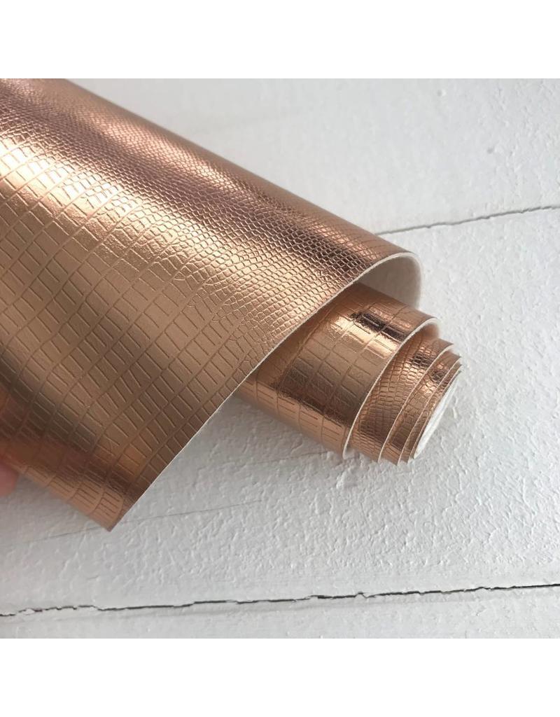 Kunstleder-Zuschnitt Metallic Glänzend Kupfer 66x45cm