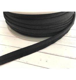 1m elastisches Paspelband matt Schwarz 10mm