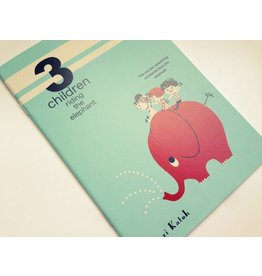 A5 Notizbuch 3 children riding the elephant