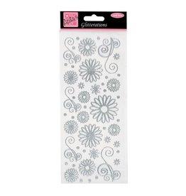 Silber Glitzer Sticker  Flowers