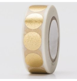 Paper Poetry Washitape Weiß Gold Dots 15 mm x 10 m