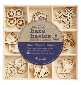 Papermania 45x Wooden Shapes  - Bare Basics - Nautical