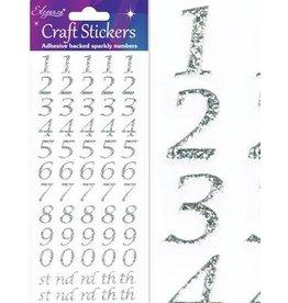 Eleganza Zahlen Glitzer Sticker Silber