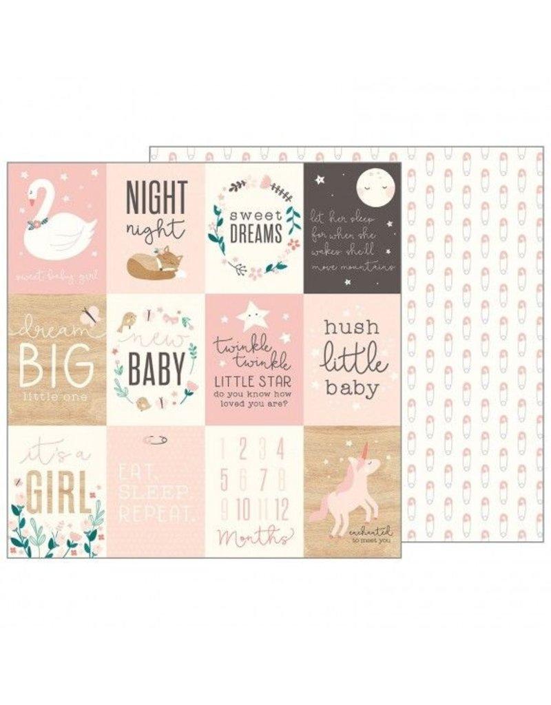 Pebbles Night Night Baby Girl Cardstock Bogen