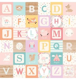 Echo Park Hello Baby Girl Cardstock 12x12  Alphabet Blocks