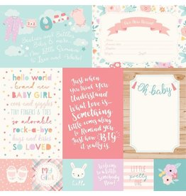 Echo Park Hello Baby Girl Cardstock 12x12   4x6 Journaling Cards