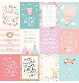 Echo Park Hello Baby Girl Cardstock 12x12   3x4 Journaling Cards
