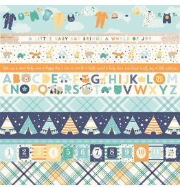 Echo Park Hello Baby Boy Cardstock 12x12  Border Strips