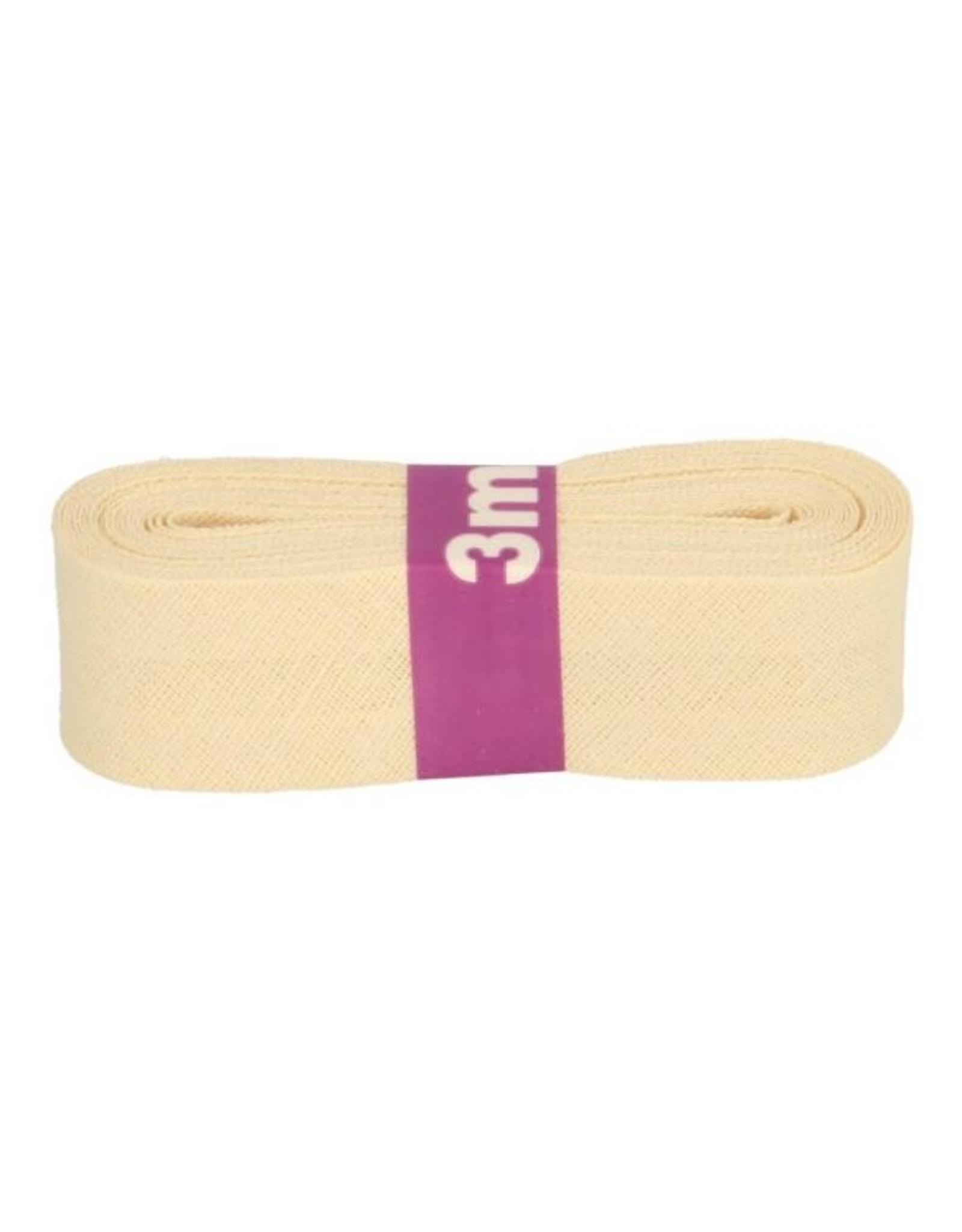 3m Schrägband aus Baumwolle 12mm Creme