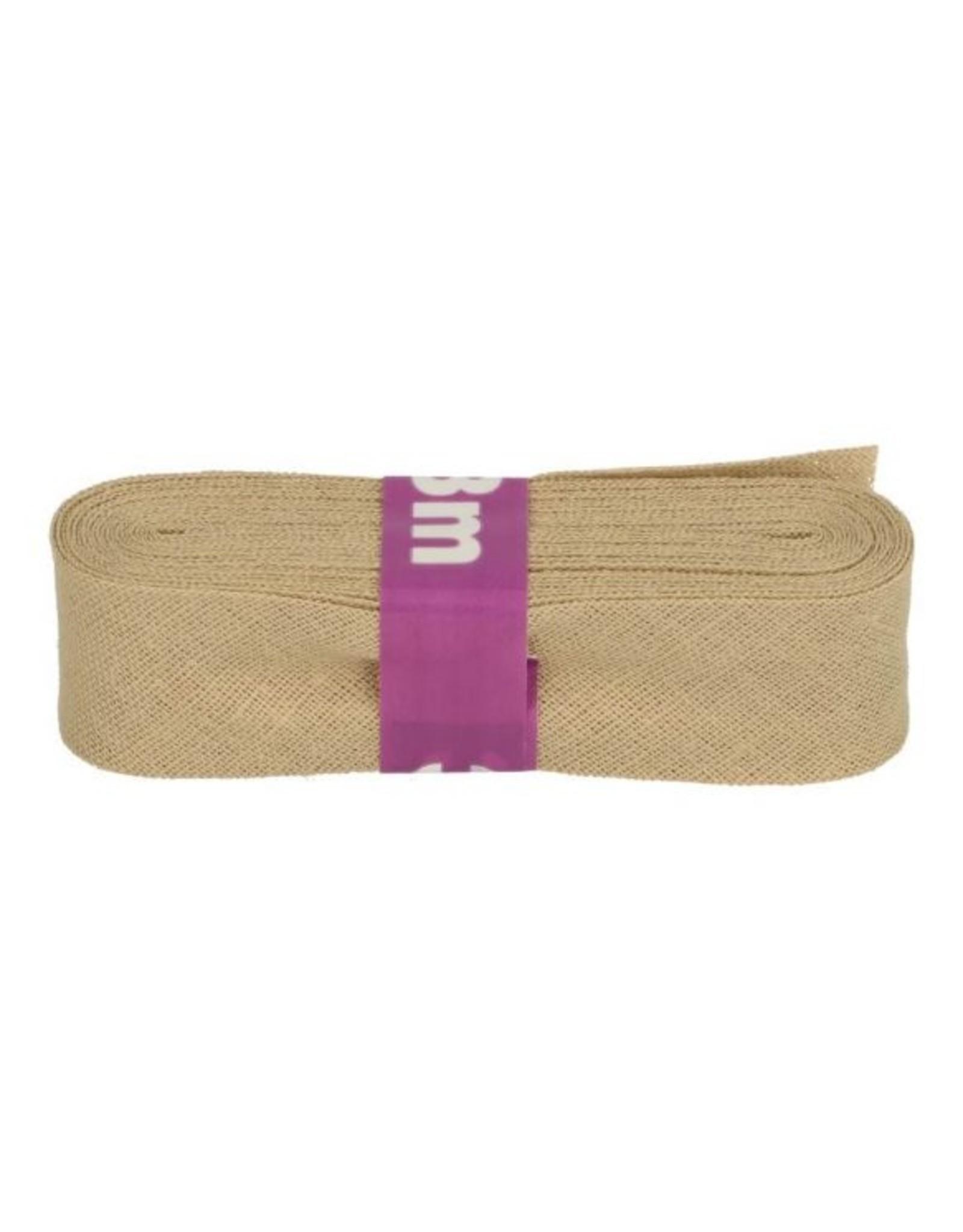 3m Schrägband aus Baumwolle 12mm Sand