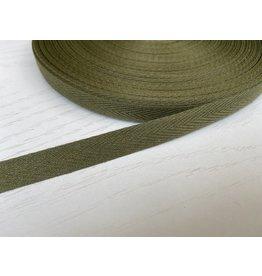3m feines, schmales Köperband 10mm Waldgrün