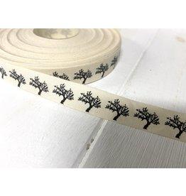 1m Baumwoll Webband   Baum  15mm