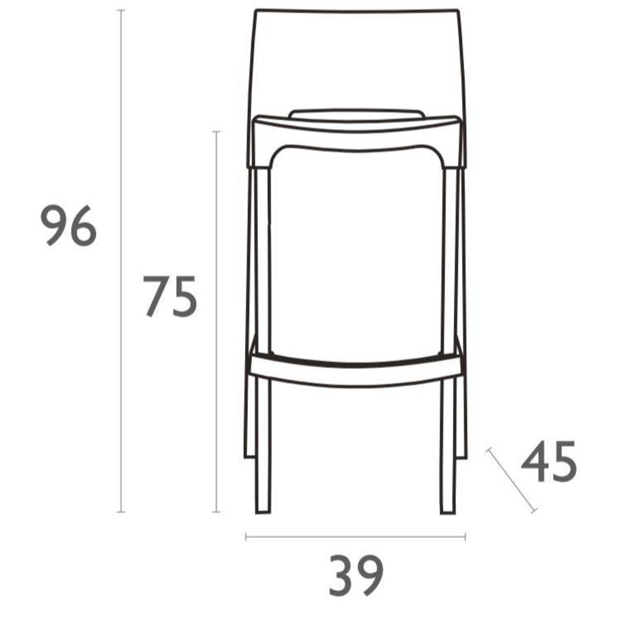 Stapelbare Barkruk - 75 cm - Gio - Zwart - Siesta-6