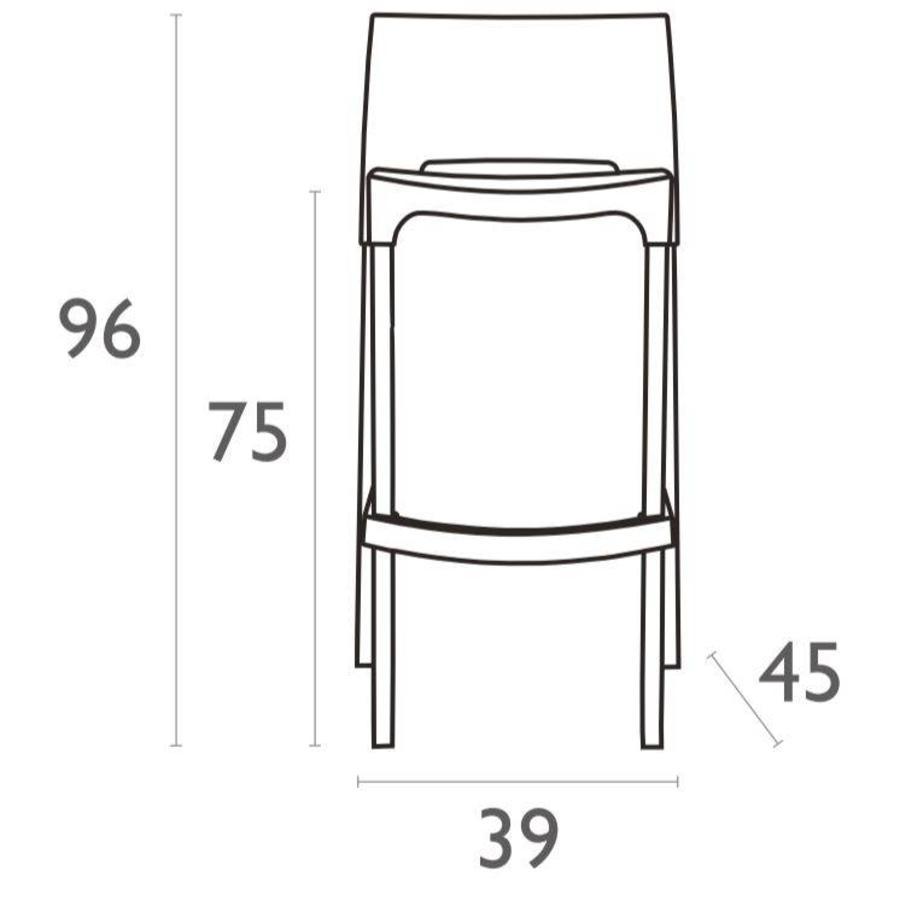Stapelbare Barkruk - 75 cm - Gio - Oranje - Siesta-6