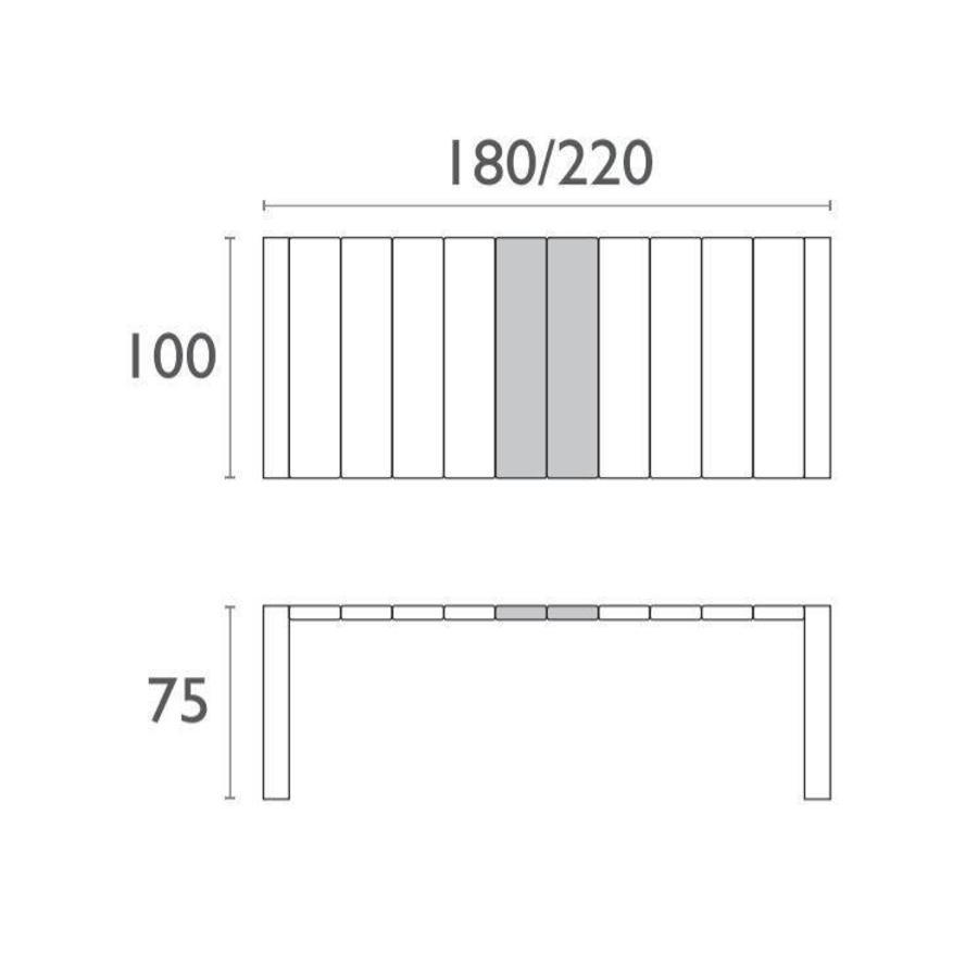 Tuintafel - Vegas Medium - Wit - Uitschuifbaar 180/220 cm-4