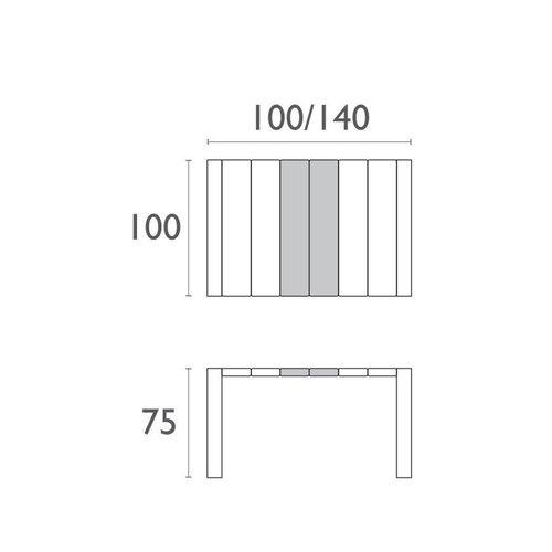 Siesta  Tuintafel - Vegas - Wit - Uitschuifbaar 100/140 cm
