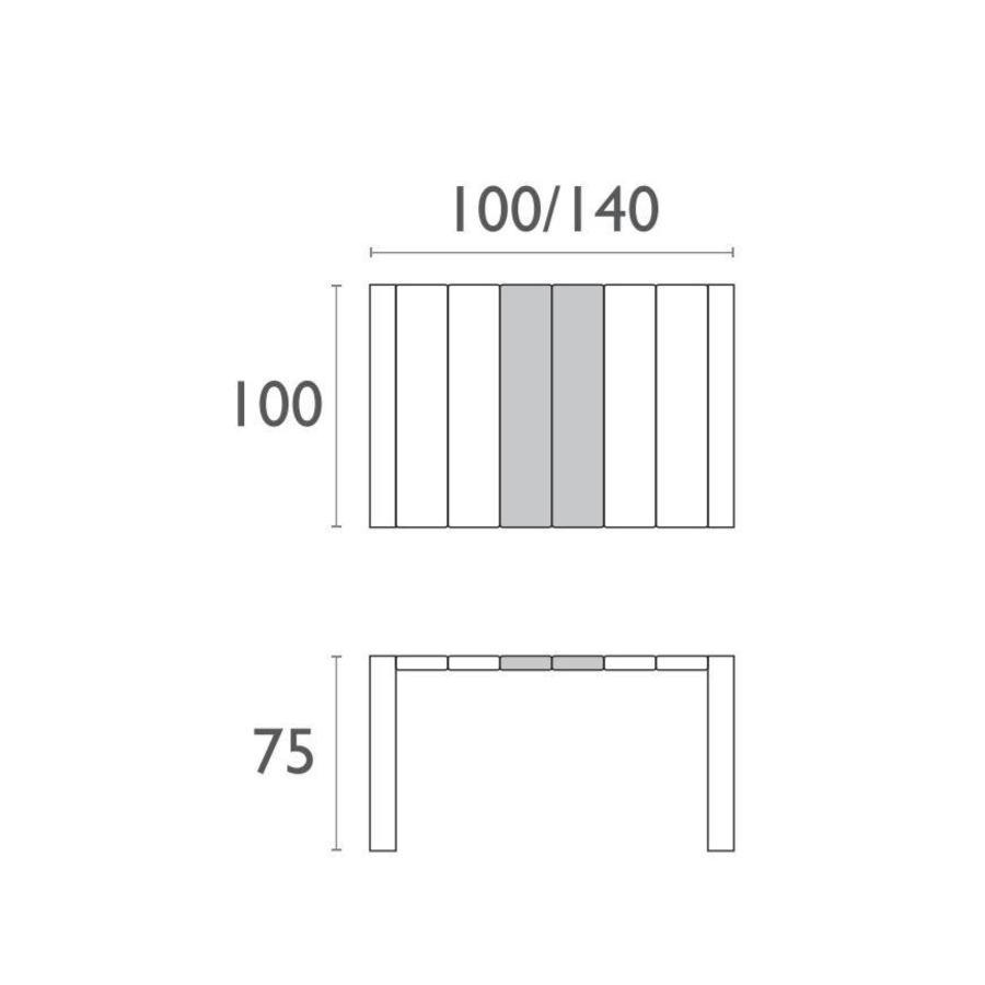 Tuintafel - Vegas - Zwart - Uitschuifbaar 100/140 cm-4
