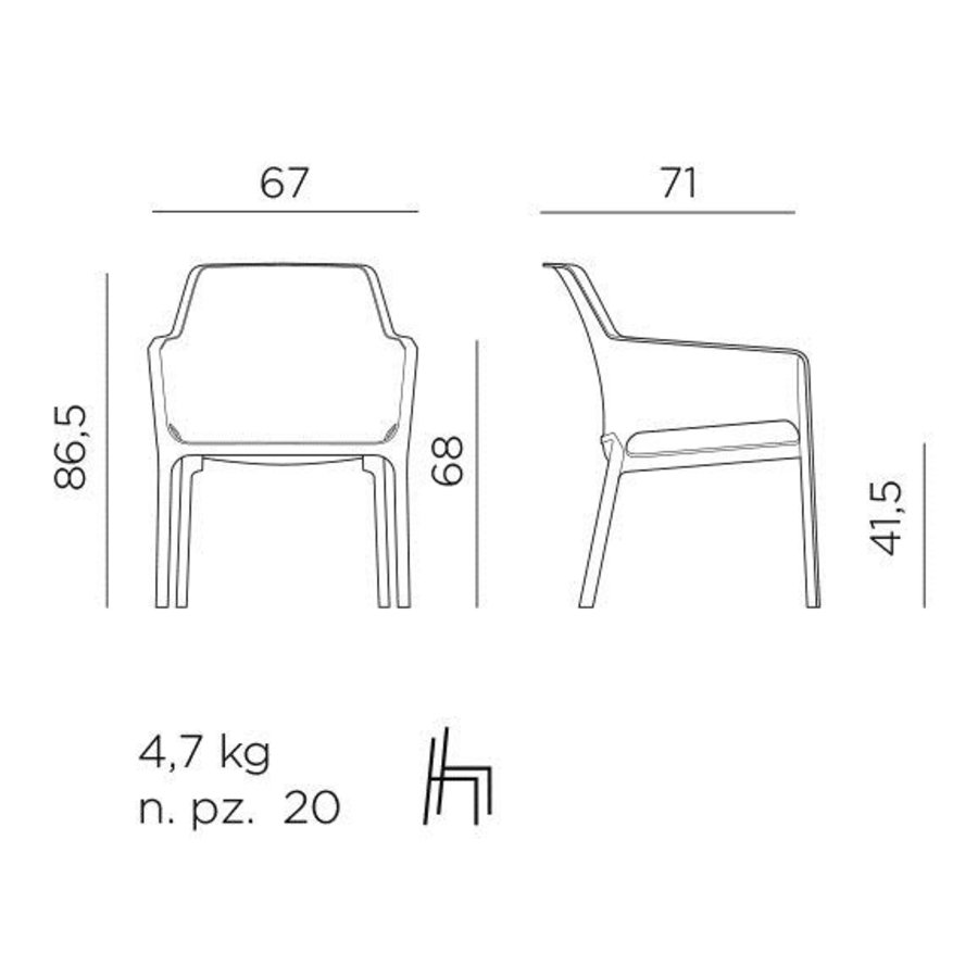 Lounge Tuinstoel - NET Relax - Salice - Zeegroen - Nardi-10