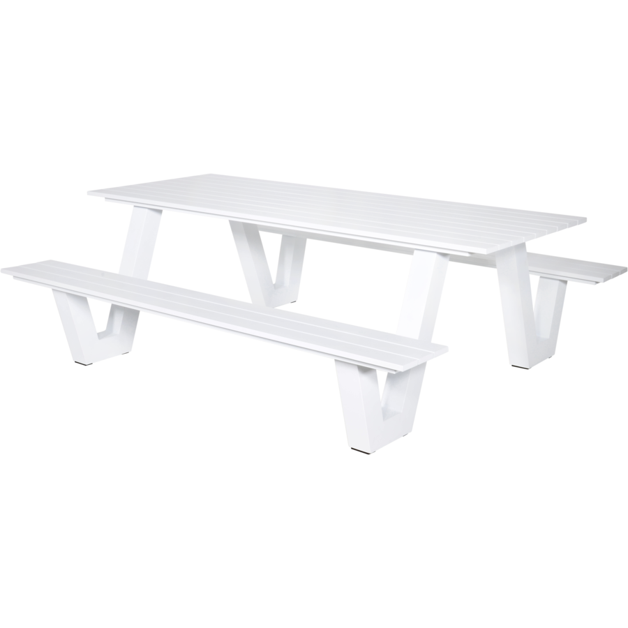 Picknicktafel - Breeze - Aluminium - Wit - Lesli Living-1