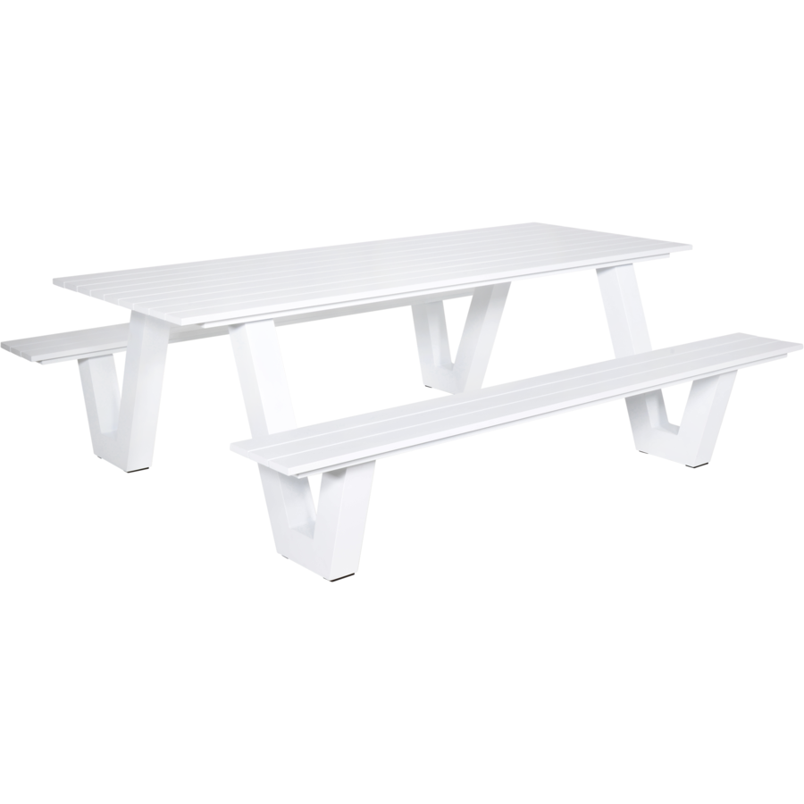 Picknicktafel - Breeze - Aluminium - Wit - Lesli Living-2